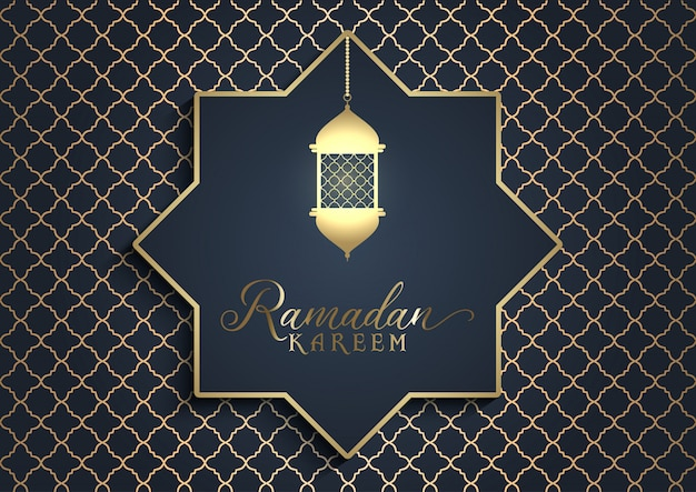 Gouden lantaarn ramadan achtergrond