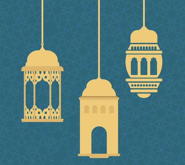 Gouden lantaarns hangen