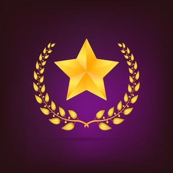 Gouden lauwerkrans met ster. gedetailleerd op gekleurde achtergrond.