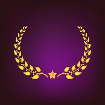 Gouden lauwerkrans met ster