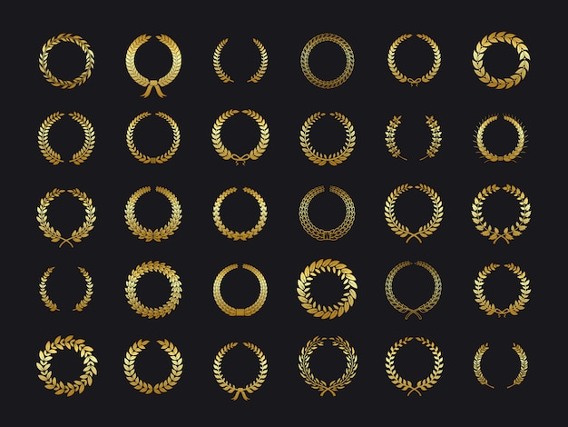 Gouden lauwerkransen. gouden laurier foliate tarwe olijf eiken krans laurierblaadjes winnaar award wapenkunde sticker zwarte achtergrond