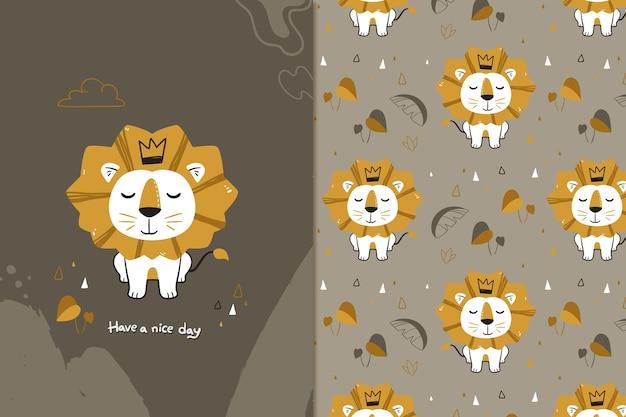 Gouden leeuw naadloze patroon