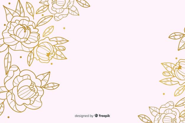 Gouden lente bloemenachtergrond