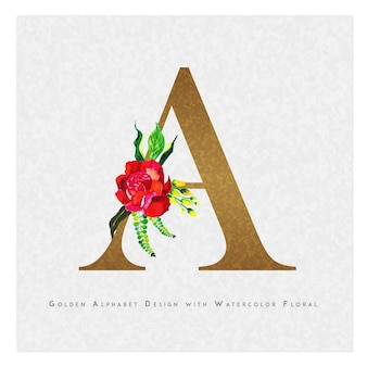 Gouden letter a watercolor floral background