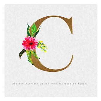 Gouden letter c aquarel bloemen achtergrond
