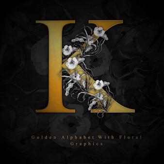 Gouden letter k aquarel bloemen achtergrond