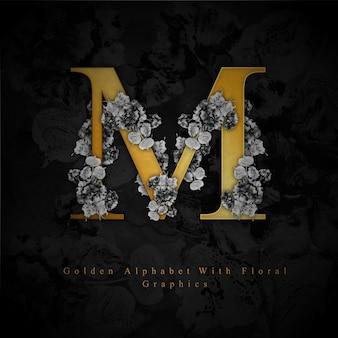 Gouden letter m aquarel bloemen achtergrond