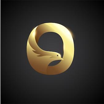 Gouden letter o met duif logo concept. creatieve en elegante logo ontwerpsjabloon.