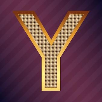 Gouden letter y vector lettertype voor logo of pictogram