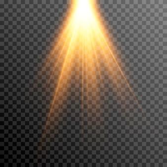 Gouden licht een lichtflits een gloed zonnestralen