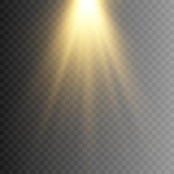 Gouden licht, lichtstralen. gouden flits. licht, verlichting.