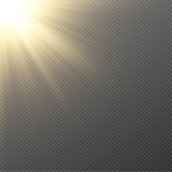 Gouden licht. zon, zonnestralen, dageraad, ster, gloed png. gouden ster.