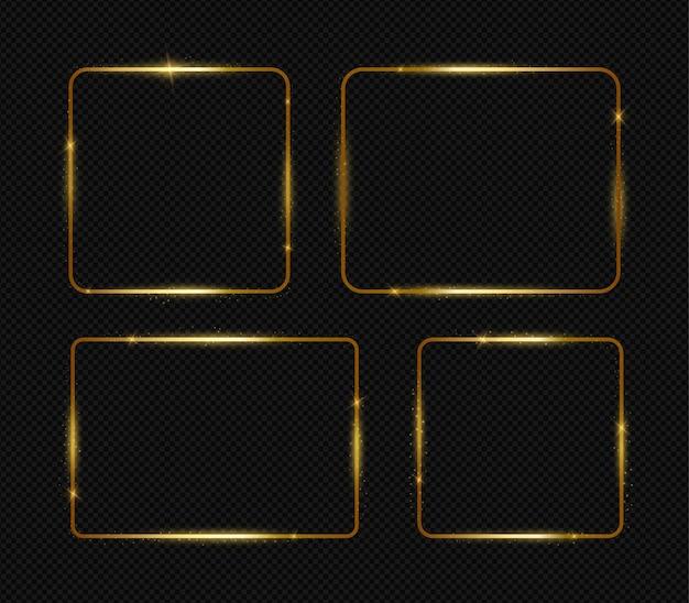 Gouden lichte frames die op zwart worden geplaatst
