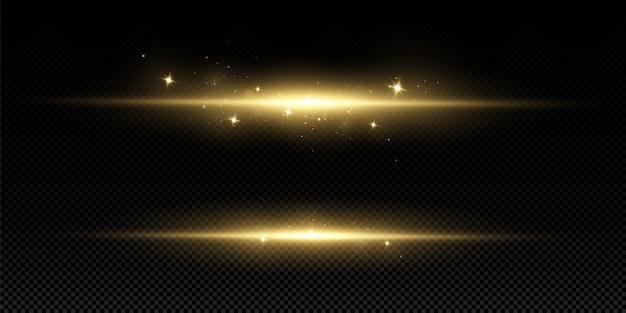 Gouden lichteffect. abstracte laserstralen van licht. chaotische neonstralen van licht.