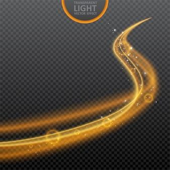 Gouden lichteffect op transparant met gloeiend wervelings lichteffect