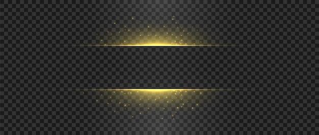 Gouden lichten en vonken gouden flits schitteren horizontale vector gloeiende vormen