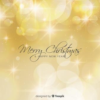 Gouden lichten kerstmis achtergrond