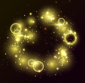 Gouden lichten, zwarte achtergrond. Glitter glanzende elementen, gloeiende sterren, ringen