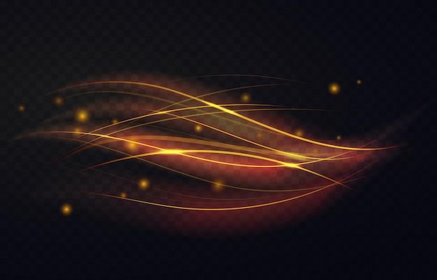 Gouden lichtgevende golven vormen en glanzende deeltjes abstract lichteffect van magische werveling