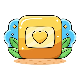 Gouden liefde knop cartoon.
