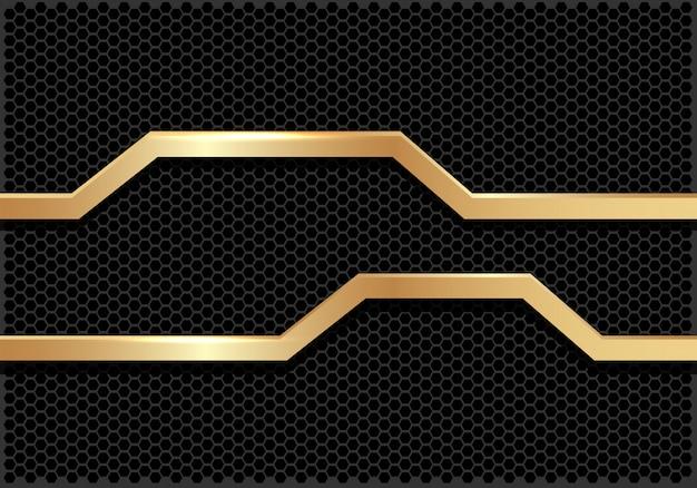 Gouden lijn banner donker zeshoek mesh achtergrond.