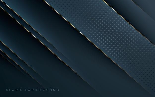 Gouden lijn en stippen concept zwarte achtergrond