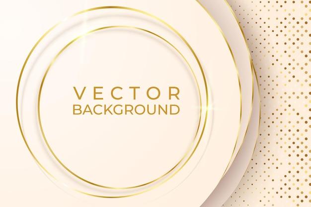 Gouden lijn luxe op crème pastel kleur achtergrond, illustratie van vector over modern sjabloonontwerp dat kostbaar en duur aanvoelt.