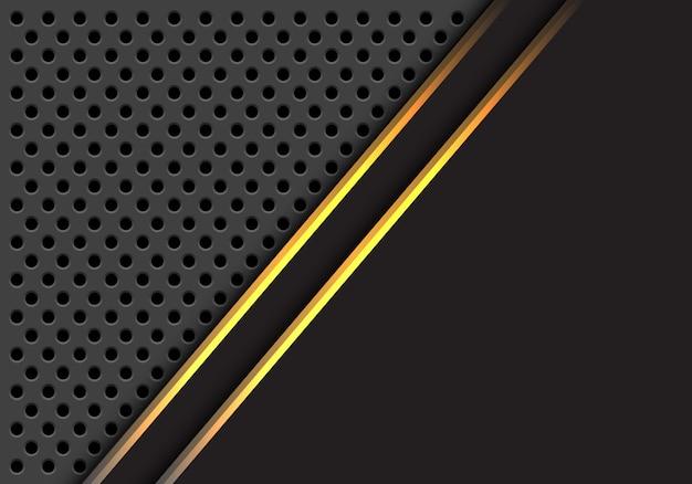 Gouden lijn overlapping grijze cirkel mesh achtergrond.