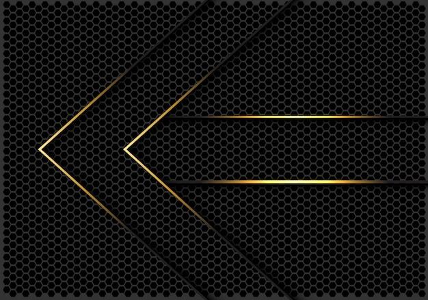 Gouden lijnen pijl richting donkere zeshoek mesh achtergrond.