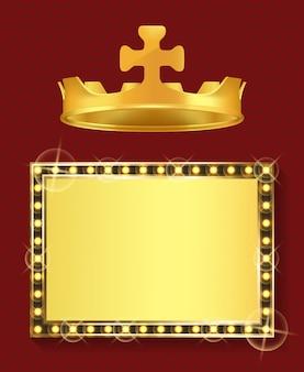 Gouden lijst en koninklijke kroon, koning of koningin sieraden
