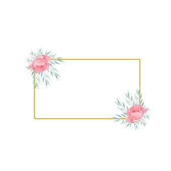 Gouden lijst met waterverfbloem