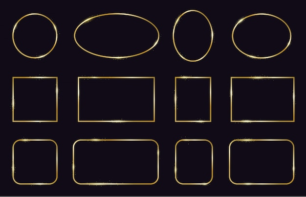 Gouden lijsten. moderne gouden geometrische frames, elegante gouden gloeiende randen. decoratieve, moderne lijnen frame pictogrammen instellen. vierkante en ovale vorm, bruiloft sjabloon frame illustratie