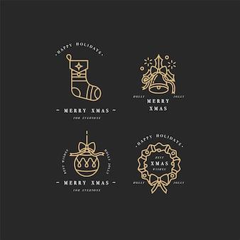 Gouden lineaire ontwerp kerstgroeten elementen op witte achtergrond