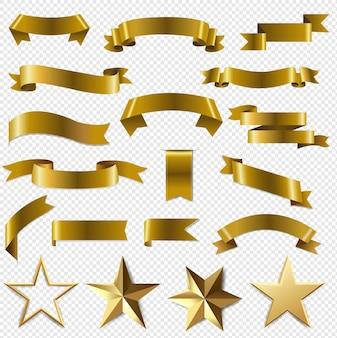Gouden linten en sterren transparant ingesteld