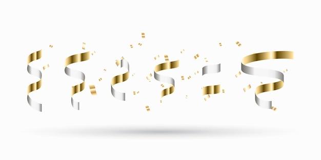 Gouden linten set. decoratie voor nieuwjaar, kerstmis