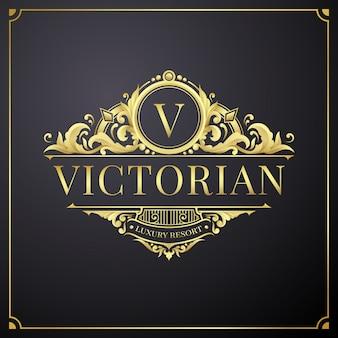 Gouden logo bloemdessin voor initialen