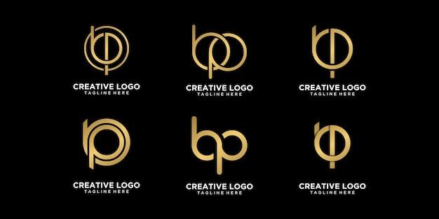 Gouden logo bp eerste vector premium set