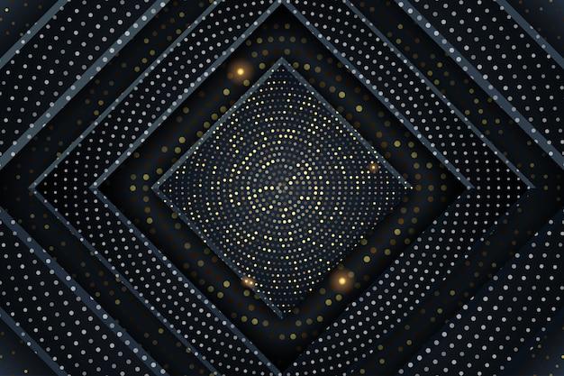 Gouden luxe achtergrond met vierkante vorm en halftoonpatroon