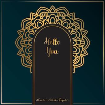 Gouden luxe achtergrond sjabloon met mandala ornament