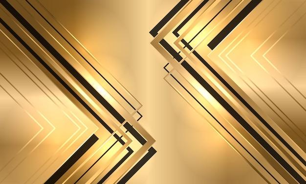 Gouden luxe elegantie abstracte achtergrond met zwarte en gouden pijlen