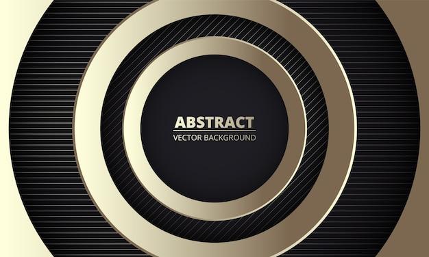 Gouden luxe geometrische abstracte achtergrond met gouden cirkels en strepen in het midden.