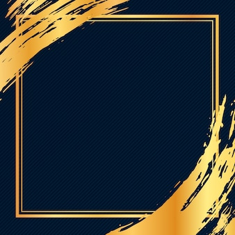 Gouden luxe grunge penseelstreek frame op donkere achtergrond