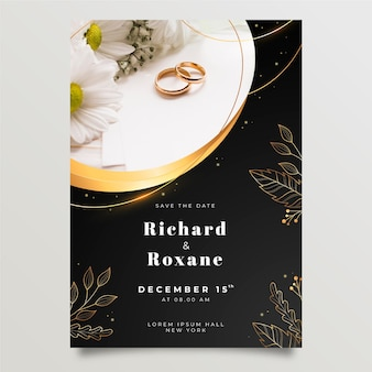 Gouden luxe huwelijksuitnodiging met foto