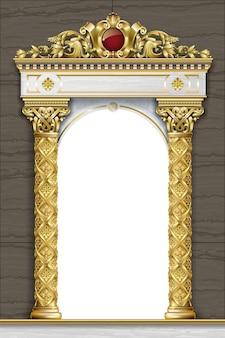 Gouden luxe klassieke boog met kolommen. barokke stijl. toegang tot het paleis.