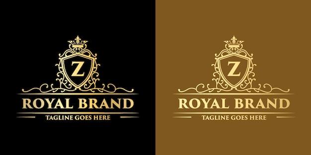 Gouden luxe koninklijk vintage monogram bloemen decoratief logo met ontwerpsjabloon kroon