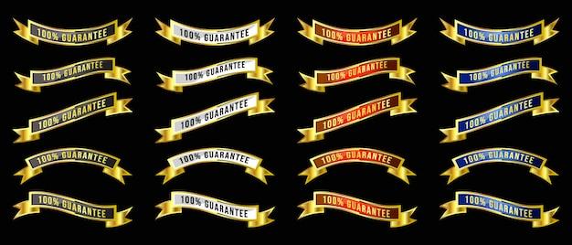 Gouden luxe koninklijke vintage wrapping gouden lint banners badges instellen voor verkoop banner