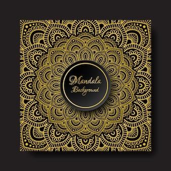 Gouden luxe mandala patroon achtergrond.