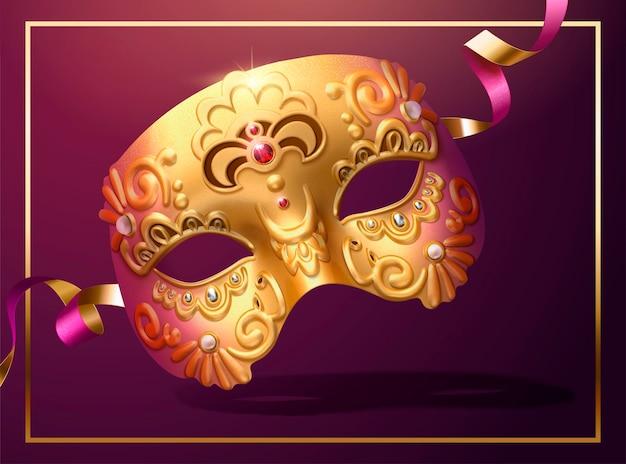 Gouden luxe masker met slinger in 3d illustratie