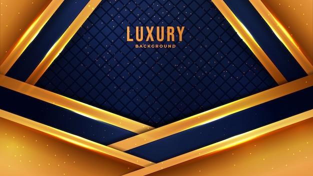 Gouden luxe moderne abstracte achtergrond met lijnen van combinatie de gloeiende roze punten