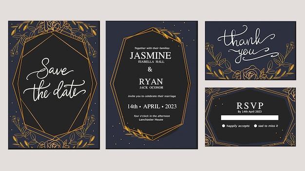 Gouden luxe ornament bloemen slaan de datum bruiloft uitnodigingskaart
